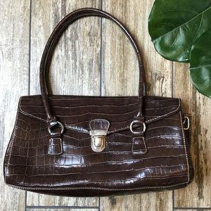 Vintage Brown Mock Croc Shoulder Bag Purse
